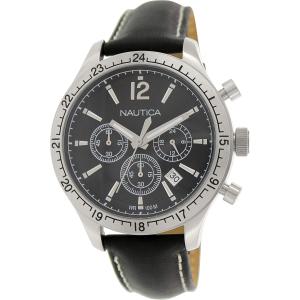 Nautica Men's Bfd 104 N16659G Black Leather Quartz Watch