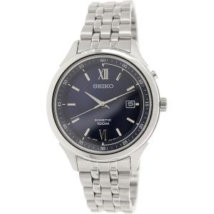 Seiko Men's SKA655 Metallic Silver Stainless-Steel Seiko Kinetic Watch