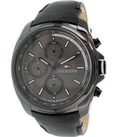 Tommy Hilfiger Men's 1791078 Black Leather Analog Quartz Watch