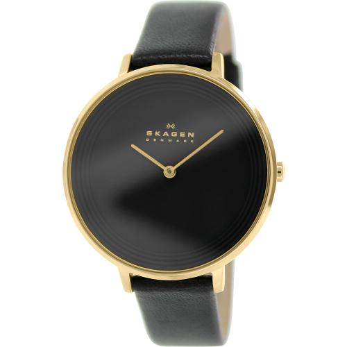Skagen Women's Ditte SKW2286 Black Leather Quartz Watch