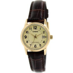 Casio Women's LTPV002GL-9B Brown Leather Quartz Watch