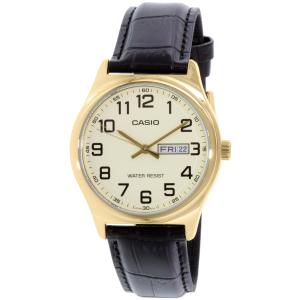 Casio Men's MTPV003GL-9B Black Leather Quartz Watch