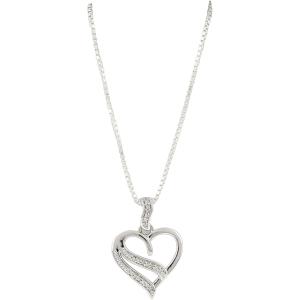 Exotic Identity Women's Heart Diamond Pendant Necklace