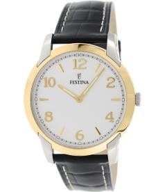 Festina Men's F16508/2 Black Leather Analog Quartz Watch