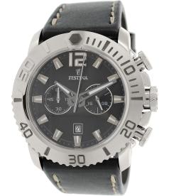 Festina Men's F16614/4 Black Leather Quartz Watch