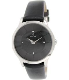 Festina Women's F16661/4 Black Leather Analog Quartz Watch