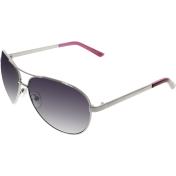 Guess Women's Polarized  GUP2017-GUN-58 Silver Oval Sunglasses