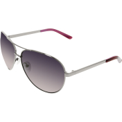 Guess Women's Polarized  GUP2018-GUN-58 Silver Aviator Sunglasses