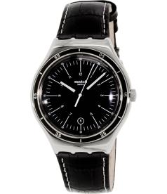 Swatch Men's Irony YWS400 Black Leather Swiss Quartz Watch