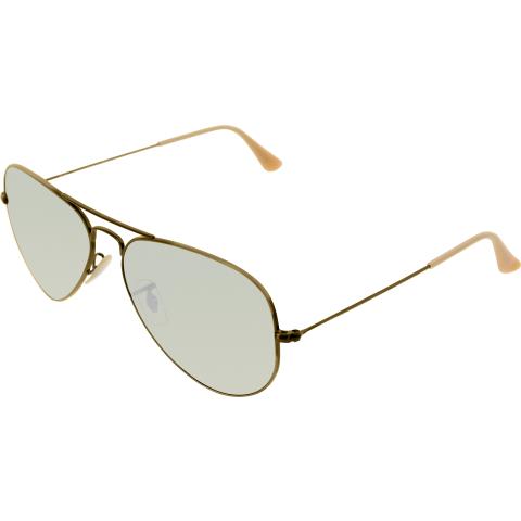 Ray-Ban Men's Mirrored Aviator RB3025-167/4K-58 Gold Sunglasses