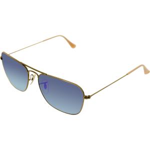 Ray-Ban Men's Mirrored Caravan RB3136-167/1M-58 Gold Square Sunglasses