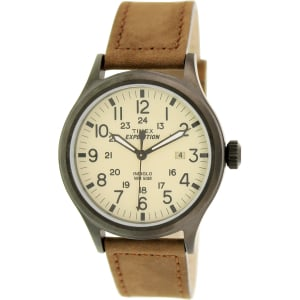 Timex Men's Expedition T49963 Brown Leather Analog Quartz Watch