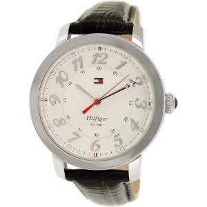 Tommy Hilfiger Men's 1781218 Silver Leather Analog Quartz Watch
