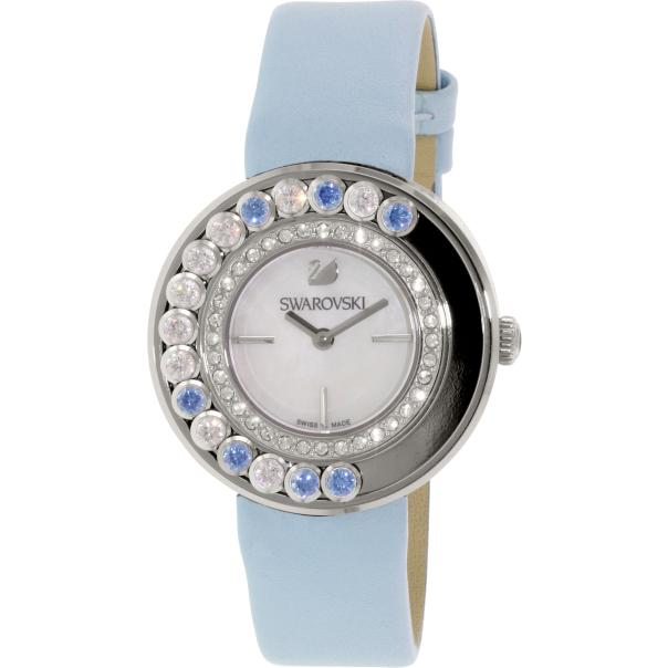 Swarovski women 39 s lovely crystals 1187024 blue leather swiss quartz watch for Swarovski crystals watch