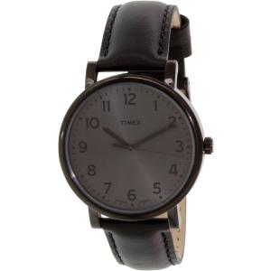 Timex Men's Easy Reader T2N346 Black Leather Quartz Watch