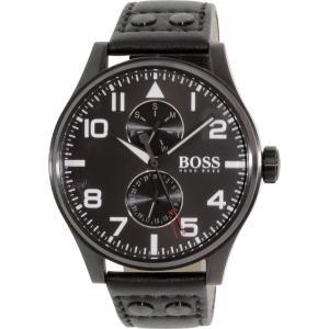 Hugo Boss Men's Aeroliner 1513083 Black Leather Quartz Watch