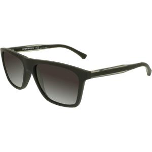 Emporio Armani Men's Mirrored  EA4001-50638G-56 Black Rectangle Sunglasses