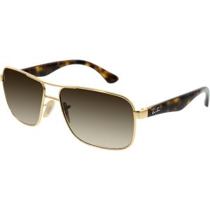 Ray-Ban Men's Gradient Highstreet RB3516-001/13-59 Gold Aviator Sunglasses