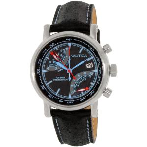 Nautica Men's NAD17503G Black Leather Analog Quartz Watch