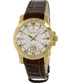 Seiko Men's SUR018 Gold Leather Quartz Watch