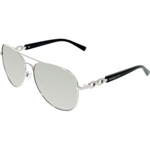 Michael Kors Women's Fiji MK1003-10016G-58 Silver Aviator Sunglasses