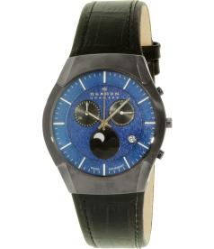 Skagen Men's 901XLMLN Black Leather Swiss Quartz Watch