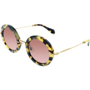 Miu Miu Women's  MU13NS-7S00A0-49 Tortoiseshell Round Sunglasses