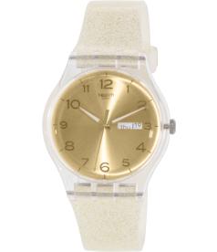Swatch Women's Originals SUOK704 Gold Silicone Swiss Quartz Watch