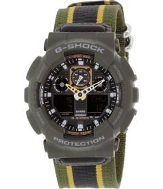 Casio Men's G-Shock GA100MC-3A Olive Nylon Quartz Watch