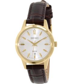 Seiko Women's SUR890 Brown Calf Skin Quartz Watch