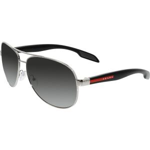 Prada Men's Polarized  PS53PS-1BC5W1-62 Silver Aviator Sunglasses