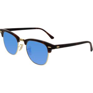 Ray-Ban Men's Mirrored Clubmaster RB3016-114517-49 Tortoiseshell Round Sunglasses