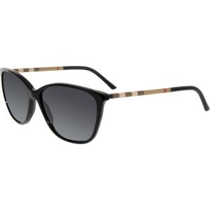 Burberry Women's Polarized  BE4117-3001T3-58 Black Cat Eye Sunglasses