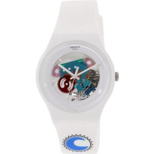 Swatch Women's Originals SUOW100D White Rubber Swiss Quartz Watch