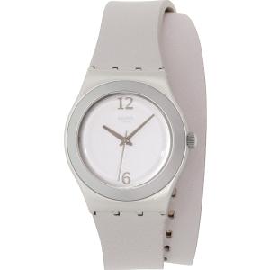 Swatch Women's Irony YLS1033 Grey Leather Swiss Quartz Watch