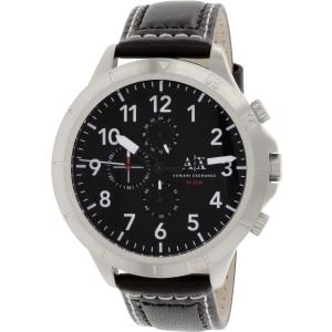 Armani Exchange Men's AX1754 Black Leather Quartz Watch