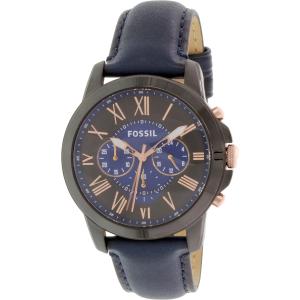Fossil Men's Grant FS5061 Blue Leather Quartz Watch