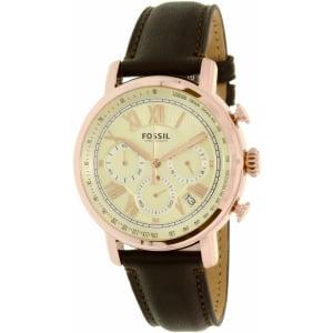 Fossil Men's FS5103 Rose Gold Leather Quartz Watch