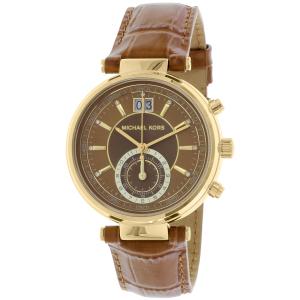 Michael Kors Women's Sawyer MK2424 Brown Leather Quartz Watch