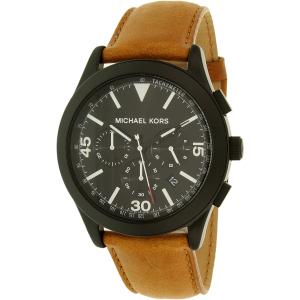 Michael Kors Men's MK8450 Black Leather Quartz Watch