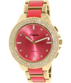 Geneva Platinum Women's 2398.CORAL.GOLD Coral Metal Quartz Watch