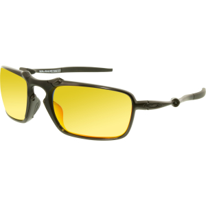 Oakley Men's Polarized Badman OO6020-03 Black Rectangle Sunglasses