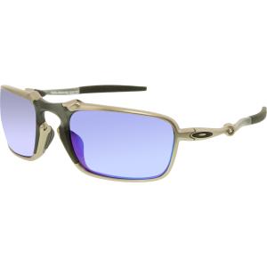 Oakley Men's Polarized Badman OO6020-04 Silver Rectangle Sunglasses