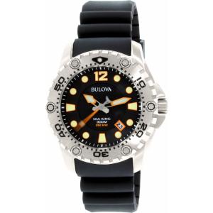 Bulova Men's Sea King 96B228 Black Silicone Quartz Watch