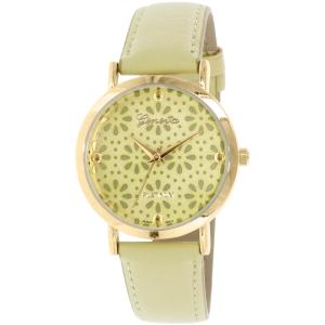 Geneva Platinum Women's 4934.OLIVE.GOLD Green Leather Quartz Watch