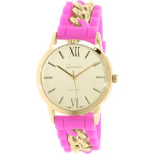 Geneva Platinum Women's 4939.PINK.GOLD Pink Rubber Quartz Watch