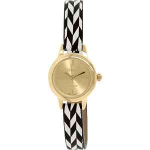 Geneva Platinum Women's 9864.BLACK.WHITE.PATTERN.GOLD Black White Multi Leather Quartz Watch