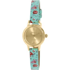Geneva Platinum Women's 9864.GREENFLORAL.GOLD Multicolor Leather Quartz Watch