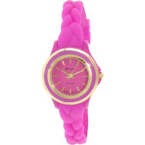 Geneva Platinum Women's 4978.MAGENTA.GOLD Pink Rubber Quartz Watch