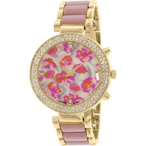 Geneva Platinum Women's 9484.GOLD.MAUVE.FLORAL Gold Metal Quartz Watch